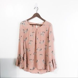 PLEIONE Pink Floral Ruffle Sleeve Blouse Top